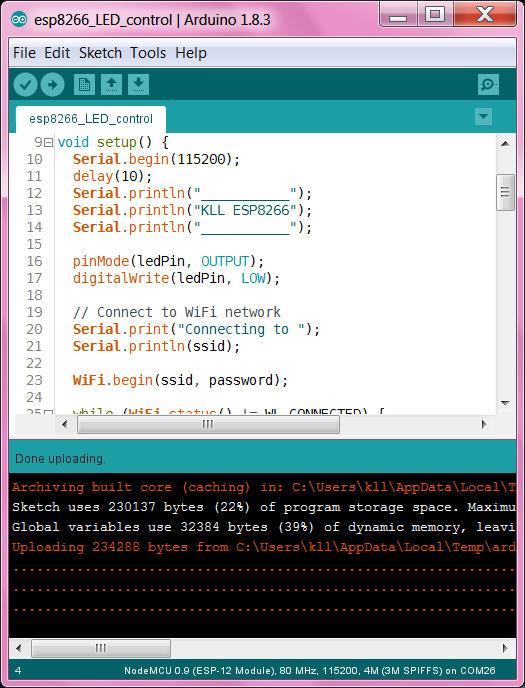 KLL engineering work blog - Articles: ESP / 8266 / 32 as WIFI Arduino